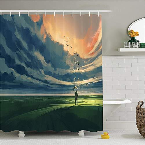 CHENHAO Cortina de baño con Anilla, Antimoho, baño, Hogar Abstracto Hombre Que sostiene un Paraguas De pie Solo en el Prado Nublado Horizonte A 120x180cm