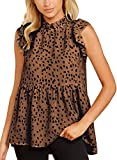 KIRUNDO 2021 Summer Women's Tunic Tops Ruffle Neck Cap Sleeves Shirts Floral Print Loose Babydoll Tank Tops Pleated Blouses (X-Large, Leopard-Brown)