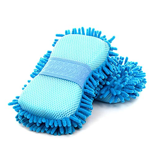 Cepillo de Limpieza Herramientas Microfibra Esponja Producto Paño Toalla Lavado Guantes Suministro Súper Absorción de Agua Fuerte Detergencia-Azul Cielo