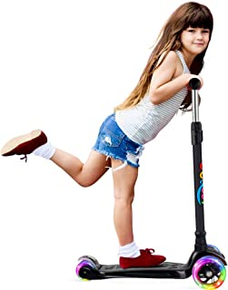 BELEEV Patinete de 3 Ruedas para Niños de 3-12 años, Scooter con Ruedas iluminadas LED, Patinete con 4 Altura Ajustables(Negro
