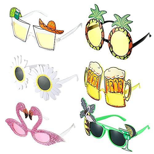 Tropical Divertenti Occhiali, MOPOIN 6 Paia Hawaiani Tropicali Occhiali da Sole Occhiali Festa Party Divertenti Creativi Occhiali per Feste a Tema Spiaggia Bambini Adulti