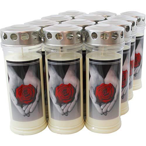 12x Jeka 7 Tage Motiv Grabkerzen, Rose & Hand | Gedenkkerze | Grablicht | Öllicht | Grabschmuck