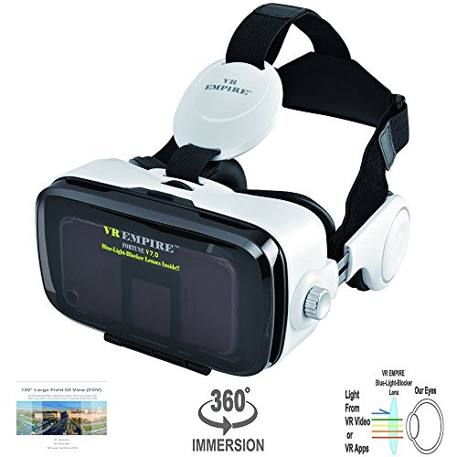 VR Headset Virtual Reality Headset 3D Glasses with 120°FOV, Anti-Blue-Light Lenses, Stereo Headset, for All Smartphones with Length Below 6.3 inch Such as iPhone & Samsung HTC HP LG etc.