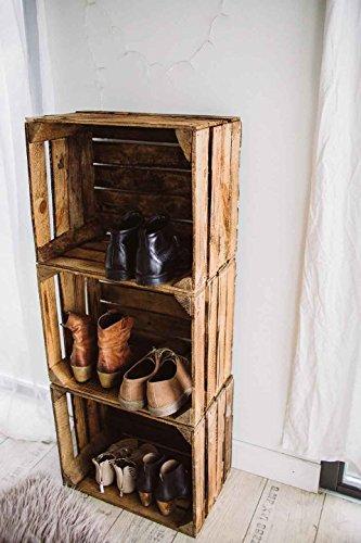Geflammte Holzkisten im Set-Angebot: Originale, Vintage Obstkisten Apfelkisten aus dem Alten Land zum Möbelbau oder Dekoration mit den Maßen 50 x 40 x 30cm (3er Set) - 7