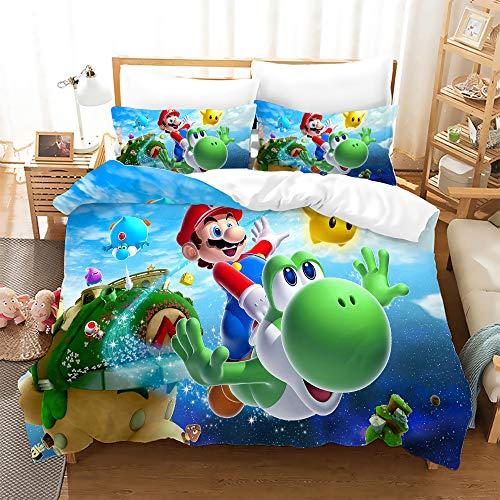 PTNQAZ Juego de cama de dibujos animados para niños, juegos de cama con fundas de almohada de 135 x 200 cm, decoración textil para el hogar, ropa de cama para niños y niñas (sin sábana) (1)