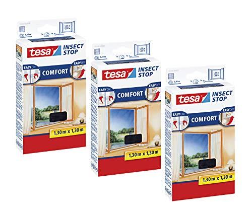 tesa Insect Stop COMFORT Fliegengitter Fenster - Insektenschutz mit Klettband selbstklebend - Fliegen Netz ohne Bohren (130 cm x 130 cm, 3er Pack/Anthrazit (Durchsichtig))