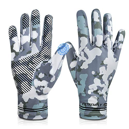 Cycling Fishing Gloves,UV Protection Full Finger Touch Screen Cooling Gloves UPF50+ Sun Gloves,Non-Slip Gym Gloves for Kayaking,Hiking,Paddling,Fitness,Climbing,Workout, Driving,Golf