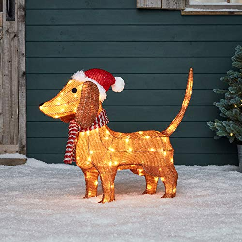 Lights4fun, Inc. 2ft Lighted Dachshund Wiener Pre-Lit LED Christmas Holiday Decoration