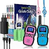 Wishouse Walkie Talkie Niños Recargable USB 2 Unidades,Portátil Transmisores-Receptores Largo Alcance con Cordones,Juguetes de Camping con Linterna,Navidad Cumpleaños Regalos por la Familia Infantiles
