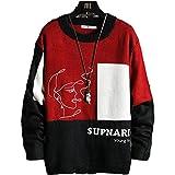 Suéter de Punto para Hombre con Estampado de Color a Juego con Cuello Redondo, Ropa de Calle de Ajuste...