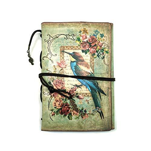 Vintage Notizbuch kuaetily Leder Schönes Tagebuch Reisetagebuch Reisetagebuch Nachfüllbare Notebook Diary (Vögel)