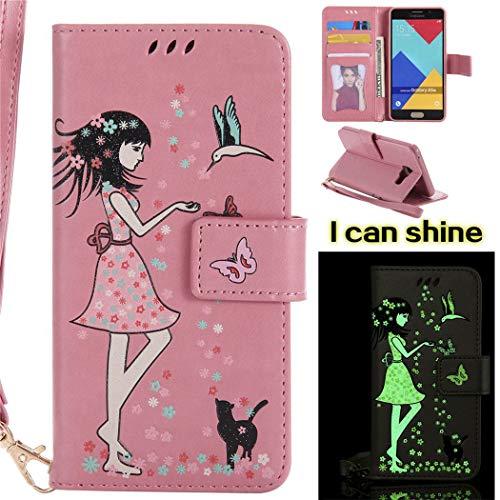 ShuiSu - Funda con tapa para Samsung Galaxy A5 2016, diseño de chica hermosa, luminosa, piel sintética, suave, cierre magnético, función atril, tarjetero, correa protectora