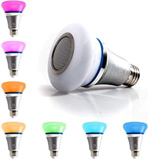 Bluetooth LED Multicolor Light Bulb Speaker, 5W E26 RGB Changing Lamp Wireless Stereo Audio App Controlled with Alarm and Timer