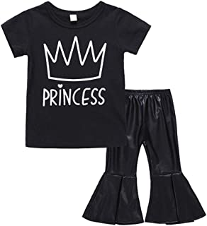 Fairy Baby Toddler Baby Girls Outfit Clothes Set Crown Tops Shirt+PU Flare Pant Bell-Bottom