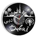 KDBWYC Dubai Landmark Reloj de Pared Moderno Palm Island Hotel Paisaje Vinilo LP Registro Reloj de Montaje en Pared Colgante Negro-Sin LED