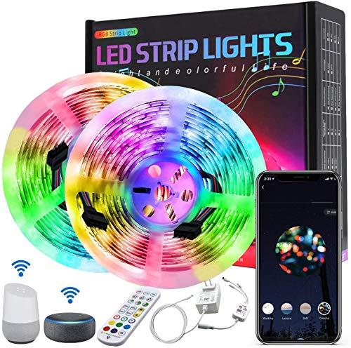 10M Luces de Tiras LED WiFi,Amouhom Tira de Luz se Puede Usar con Alexa, Google Home, APP, Ajuste de Control de Voz, Adecuada para Dormitorio, Salón,Fiesta, Navidad, Decoración de Halloween