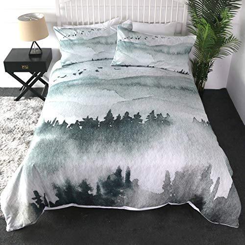 Sleepwish Mount Rainier Duvet Cover Misty Frog Forest Soft Bedding Set for Nature Bedroom 3 Pieces Outdoor Print Blue Valley Bed Sets (Queen)