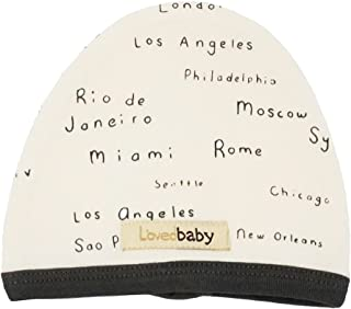 قبعة أطفال عضوية للأطفال من الجنسين من L'ovedbaby (أسماء المدينة باللون البيج، 3-6 أشهر)