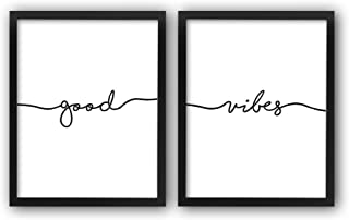 "HPNIUB Framed Good Vibes Art Prints, Set Of 2 (10""X8"")-Ready To Hang- Inspirational Quotes Wall Art Motivational Wall Decor For Yoga Studio Bedroom Office Decor"