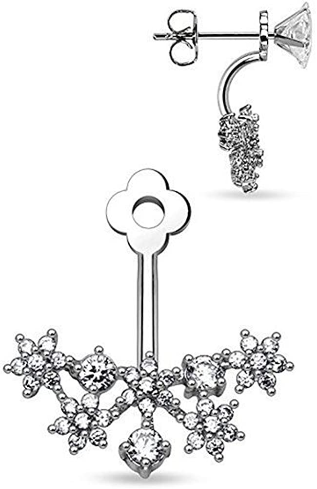 Covet Jewelry CZ Flower service Cluster Fan On Add Bar Earring Cartilage Challenge the lowest price of Japan