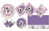 Procos 10133062-Set de Fiesta de cumpleaños Infantil (tamaño Mediano), diseño de Minnie Mouse y Unicornio, Color carbón (10133062)