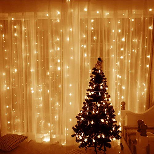 ECOWHO LED Icicle Curtain Lights, 300 LEDs, 17.8 FT, 8 Modes, Connectable Christmas Lights Outdoor, Fairy Curtain LED String Lights for Christmas Home Wedding Party Backdrops Wall Decor(Warm White)