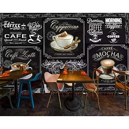 Angepasste Tapete Europäische und amerikanische Art Retro Tafel Kaffee Catering Hintergrund 3D Wallpaper/Größe:200x140cm