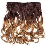 WIG ME UP - CMT-863-052TT26 clip-in extension de cheveux arrière de la tête large 5 clips bouclé boucle dégradé brun moyen blond caramel 40 cm