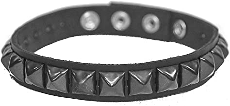 Leather Gun Metal Studded Armband Fetish Rock 3 Snap Gear Black