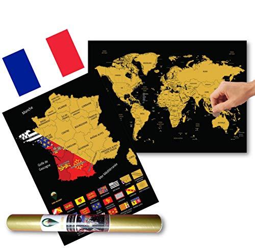 Global Walkabout FRANÇAISE - A3 Carte du monde à gratter avec des drapeaux en arrière-plan - Affiche de voyage de luxe - Cadeau de voyage - Carte BONUS A3 des drapeaux et des faits de France (Noir)