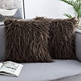 Woaboy Pack of 2 Decorative Faux Fur Fluffy Throw Pillow Covers Luxury Series Cushion Covers Square Mongolian Merino Style Pillowcases for Couch Bed Sofa Living Room 18x18inch Brown