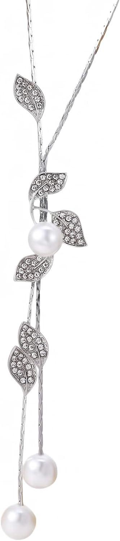 Botreelife Flower Leaf Dangle Necklace Elegant Tassel Long Sweater Necklace Jewelry For Women