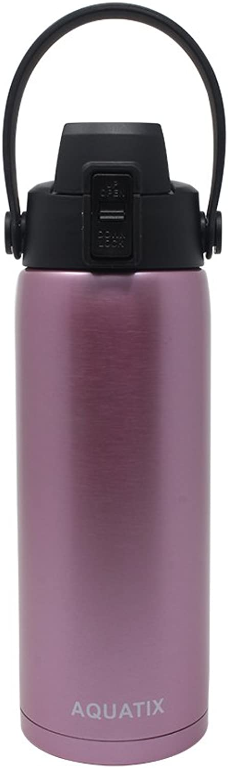 New Aquatix (pink gold, 21 Ounce) Pure Stainless Steel Double Wall Vacuum Insulated Sports Water Bottle Convenient Flip Top Cap with Removable Strap HandleKeeps Drinks Cold 24 hr Hot 6 hr