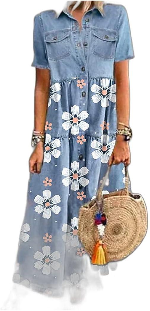Women's Denim Shirt Dress Maxi Long Dress Blue Short Sleeve Floral Pocket Button