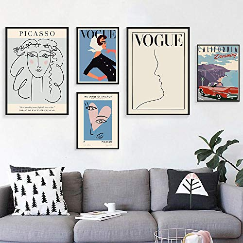 Picasso Vintage Poster Wall Art Vogue Girl Dipinto su Tela Linea Astratta Donna Poster e Stampe Soggiorno Casa in Stile Nordico Quadro a Parete Decor