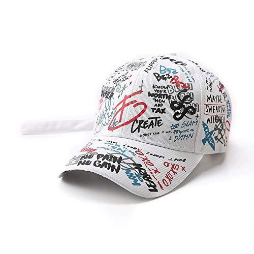 TRDyj Men and Women Baseball Cap Fashion Graffiti Cap Outdoor Leisure Hat Hip Hop Men and Women Sun Hat Visor (Color : White)