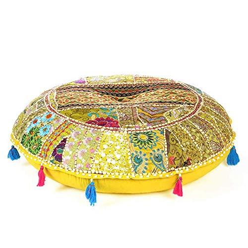 Eyes of India - Redondo de Colores Patchwork Piso Decorativo Almohada Cubierta Meditación Cojín Asiento Manta India Boho Elegante Bohemio Adorno Hecho a Mano Cubierta