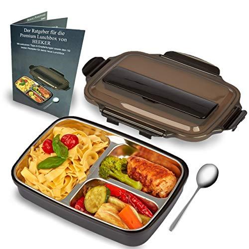 HEEKER® Premium Lunchbox für kinder & erwachsene - praktische edelstahl brotdose mit 3 fächern - bento box ideal für die arbeit, schule oder kindergarten - brotbox schwarz