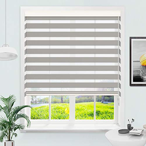 MiLin Window Blinds Zebra Blinds Dual Layer Roller Shades, Fast Delivery Custom Cut to Any Size 12-98 Wide and Maximum Height 118 inch - Contrast Grey