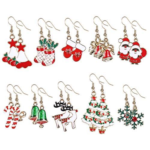 Naler 10 Paar Ohrringe Weihnachten Ohrhaken Schmuck für Adventskalender