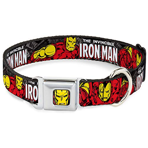 Buckle-Down Seatbelt Buckle Dog Collar - THE INVINCIBLE IRON MAN Stacked Comic Books/Action Poses - 1' Wide - Fits 9-15' Neck - Small