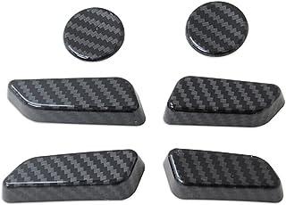 shiyi 6PCS FIT FÖR TESLA MODELL Y 2021 CARBON FIBER SEAT JUSTERING SWITCH BUTTRE TRIM COVER ABS Car Interior Sticker Tillb...