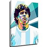 Xlcsomf Lienzo pintado para pared, diseño de jugador de fútbol, Diego Armando Maradona, Diego Maradona, decoración de habitación y gran regalo, estirado y enmarcado, listo para colgar, 61 x 91 cm