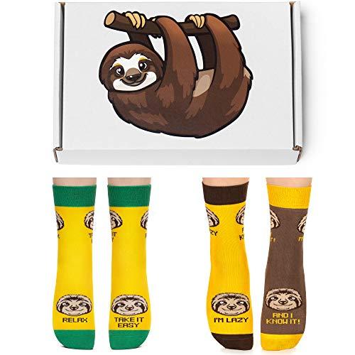 Petsy Lustige 2er Socken Box Set für Damen und Herren 35-38 - Baumwolle Bunt Motivsocken mit Spruch - Perfekt Verrückte Geschenke - Das Faultier