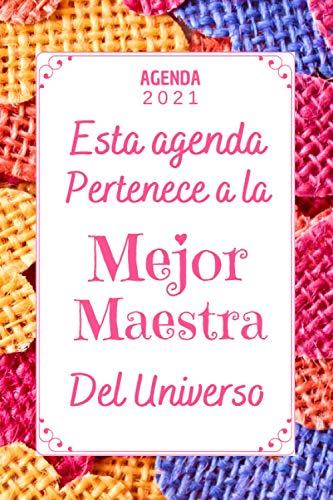 Mejor Maestra AGENDA 2021: Agenda Anual 2021 Semana vista A5 , 12 meses , una Semana en dos Páginas , regalo maestra infantil primaria original