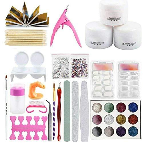 Welinks - Juego de herramientas de manicura y manicura para uñas acrílicas en polvo y purpurina, color al azar