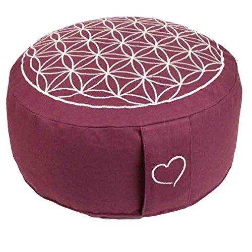 maylow Yoga mit Herz Yogakissen Meditationskissen mit Stickerei Blume des Lebens 33x15 cm Bio-Dinkelspelz gefüllt - Bezug Inlett 100% Baumwolle...