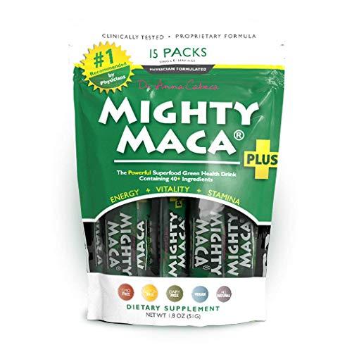 Mighty Maca Plus - 15 Travel Packs Delicious, All-Natural, Organic Maca Superfoods Greens Drink, Allergen & Gluten Free, Vegan, Powder