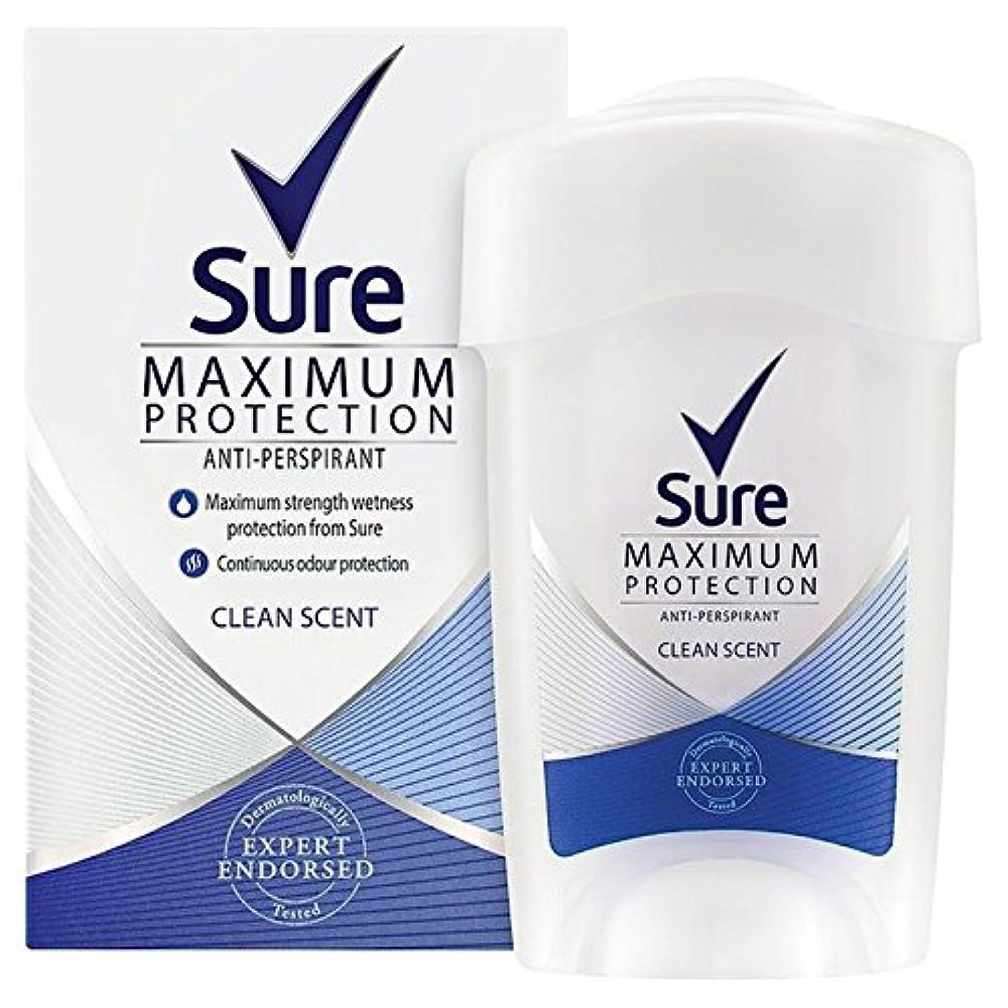 倉庫スクランブル警報女性の最大の保護クリーンな香りのクリーム制汗デオドラント45ミリリットルを確認してください x2 - Sure Women Maximum Protection Clean Scent Cream Anti-Perspirant Deodorant 45ml (Pack of 2) [並行輸入品]