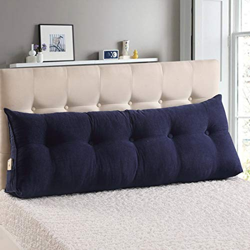 YYEWA Large Bolster Headboard Backrest Triangular Wedge Pillow Cushion Upholstered Headboard Bed Back Support for Reading Relaxing,Dark Blue,M